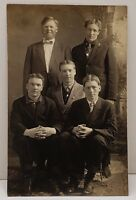 RPPC Victorian Handsome Group of Gentleman Minnesota Estate Photo Postcard B16