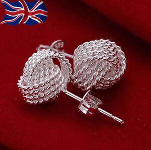 925 Sterling Silver Knot Earrings Twisted Knot Studs Butterfly Back UK Seller