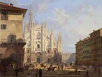 PAINTING CITYSCAPE MILAN MIGLIARA MILAN CATHEDRAL VIEW LARGE PRINT POSTER LF1367