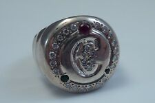 """.925 Sterling Silver Letter """"C"""" Ring with Diamonds, Rubies & Emeralds"""