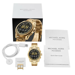 New MICHAEL KORS Men's Access MK Grayson Gold Touchscreen Smart Watch MKT5026
