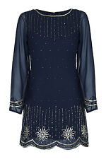1920's Vintage Chiffon Snowflake Sequin Gatsby Flapper Cocktail Dress 8 - 24 10 Navy Long Sleeves