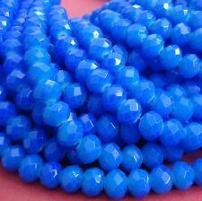 15inch- Blue Quartz Glass Faceted Rondelle Beads...8x6mm..