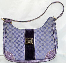 Liz Clairborne Lavender Logo Cotton Canvas & Croc Trim Small Handbag