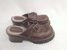 Lower East Side Womens Brown Chunky Slip On Mule Platform Heels Size 9 Vintage