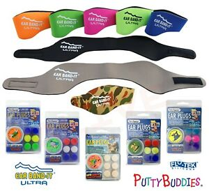 EAR BAND-IT Ultra Swimming Headband Earband Silicone Putty Buddies 3 Pairs/Pack