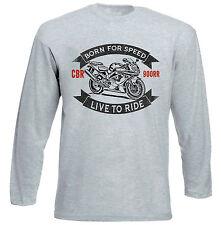 HONDA CBR 900RR-Grigio T-shirt A Maniche Lunghe-Tutte le taglie in magazzino