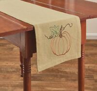 Rustic Pumpkin Table Runner 13x54 Primitive Country Fall Autumn Farmhouse Decor