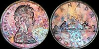 1966 CANADA ELIZABETH II SILVER DOLLAR HIGH QUALITY COLOR TONED COIN