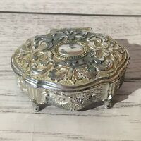 Vintage Silver Tone Ring Box ORNATE Hinged Lid. Red Velvet Lining 7 Cm