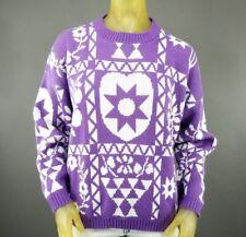 Floral Star Sun Heart Purple Large Acrylic Sweater Vintage Jolie JK Knitwear A4