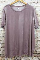 Old Navy velvet top shirt womens 4X light purple lavender short sleeve new Z1