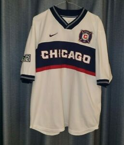 CHICAGO FIRE Nike 2000 Football Shirt L Soccer Jersey Large White Away Top MLS
