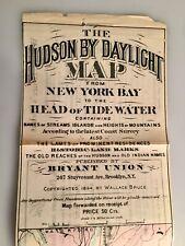 Antique 1894 Hudson by Daylight Map NYC to Troy Historic Landmarks Bryant Union