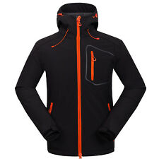 Mens Outdoor Waterproof Soft Shell Jacket Hooded Windproof Camping Hiking Coat