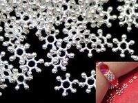 7.5mm Silver Tone Snowflake Flower  Daisy Spacer Beads Jewellery Making Findings