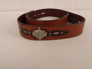 "Harley- Davidson Brown Belt w/Black design & Silver Logo - Sz M- 32"" - No Buckle"