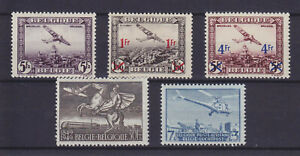 BELGIUM 1930/1949, 5 BETTER AIR MAIL STAMPS, MLH