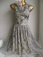 MONSOON NATALIA MINK PEWTER BEAD EMBELLISHED VINTAGE LACE WEDDING DRESS 16 £189