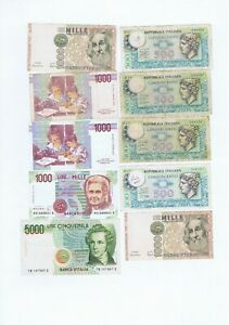 9 bank notes from Italy  : 1974 - 1990