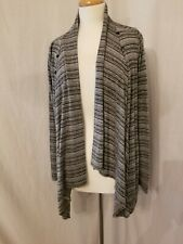 TWO HEARTS MATERNITY Long Sleeve Open Sweater Size Medium Gray Striped