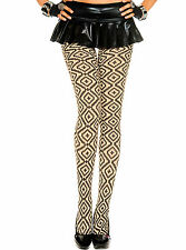 PIXEL DIAMOND & CROSS OPAQUE TIGHTS BURLESQUE PANTYHOSE BLACK NUDE DIGITAL