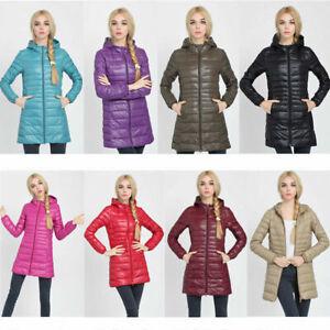 Women Winter Long Down Cotton Parka Coat Warm Fur Collar Hooded Jacket Outwear