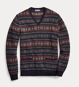 Ralph Lauren Purple Label Cashmere Wool Fair Isle V-Neck Sweater New $1695
