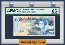 "TT PK 48a 2008 EAST CARIBBEAN STATES $10 ""QUEEN ELIZABETH II"" PMG 66 EPQ GEM!"