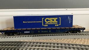 MENARDS O SCALE ALASKA X-LONG FLAT CAR W/ CSX Single STACK Intermodal