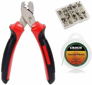 Fishing Crimping Pliers +300 pcs copper single barrel sleeves + 10M Steel Leader