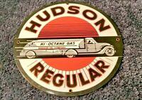 """VINTAGE """"HUDSON MOTOR OIL TANKER TRUCK 11 3/4"""" PORCELAIN METAL GASOLINE OIL SIGN"""