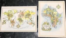 2 Vintage Pan Am Rainbow Service Jacques Liozu Map Cover Menus Africa World Map