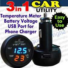 3in1 Gadget Digital LED Car Thermometer Battery Voltage Tester Meter USB Charger