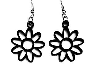 Ladies Drop Daisy Flower Dangle  Earrings in Black with 316L Surgical Steel Hook