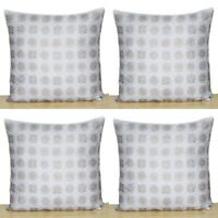 """16"""" Square Silver Gold 4 Pcs Cushion Covers Indian Hand Block Print Pillows Case"""