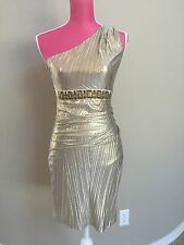 Gold Bradgley Mischka Mask & James Sz XS Off Shoulder Special Occasion Dress