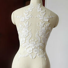 Sale Ivory Floral Lace Appliques Cotton Trim Embroidery Tulle Trim Collar Flower