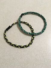 Two pack sports braided necklaces - green/gray and yellow/black
