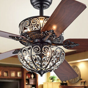 "Crystal Dual Lighted Ceiling Fan Chandelier 52"" Brown Finish - Remote Control"