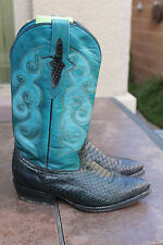 Women's western Cowboy Boots Snake Skin Western navy blue Color Size 8 mex 25