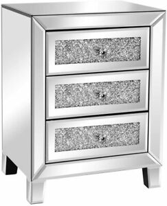 Mirrored Nightstand with 3 Drawers Modern End Table Bed Table Nightstand