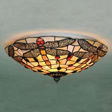 Vintage Stained Glass Ceiling Lights Tiffany Style Dragonfly Hanging Lamps