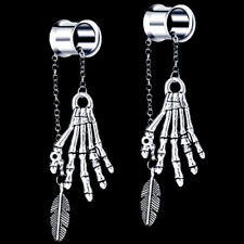 Pair Spooky Hand Dangle Stainless Steel Ear Tunnels Double Flared Plugs Gauges