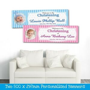2 PERSONALISED CHRISTENING PHOTO BANNERS (WELCOME TO)  AVAILABLE IN PINK OR BLUE