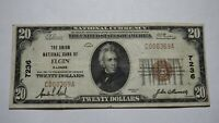 $20 1929 Elgin Illinois IL National Currency Bank Note Bill! Ch. #7236 VF!