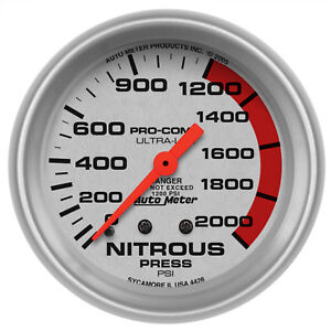 Autometer 4428 Ultra-Lite Nitrous pressure Gauge 2-5/8 in., Mechanical