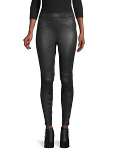 Free People Black Stretch Faux Leather High Rise Leggings Size Large NWT