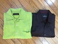 Lot Of 2 Bugatchi Uomo Men's Button Down Shirt Tencel  Size Medium