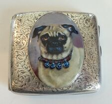 ANTIQUE ENGLISH STERLING SILVER CIGARETTE CASE, ENAMEL PUG, c. 1905